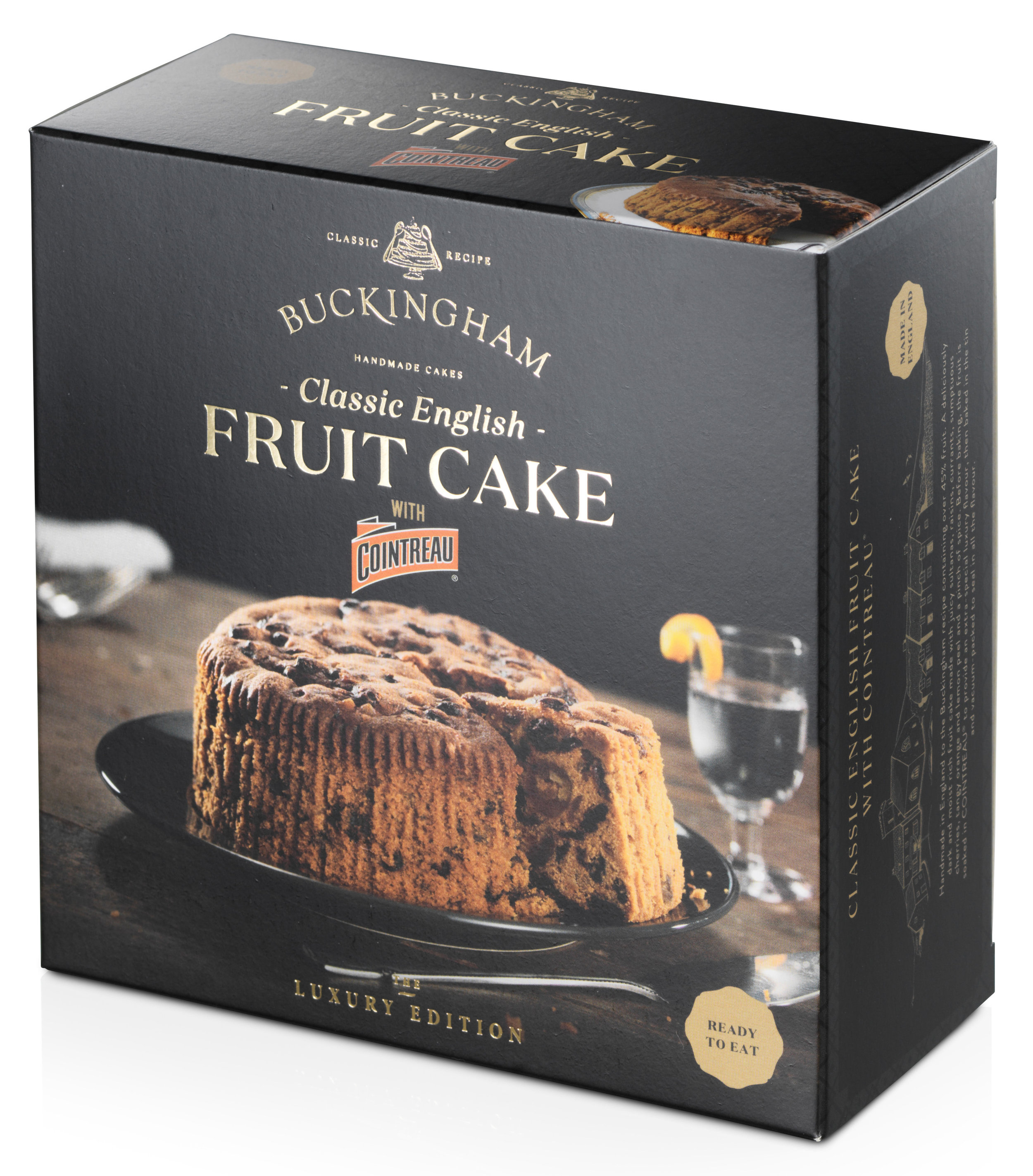 - Classic English Fruit Cake flavoured withCointreau® LiqueurPackaging: Vacuum-sealed tin with ring-pull, packed inside elegant gift box.Pack Sizes: 6 x 280g, 6 x 700gStorage: AmbientShelf-life: 24 monthsRecipe: Pure butter. Over 45% fruit.No artificial colours or flavours.