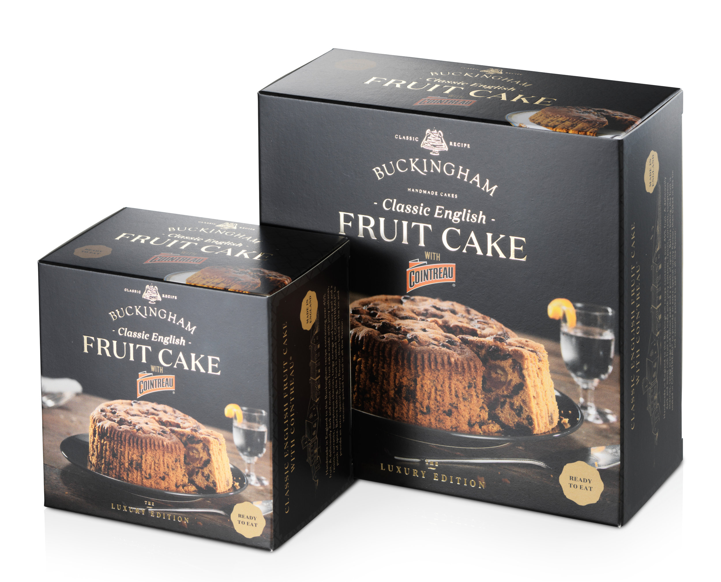 June 2019 - Printed at last! Our new 'Luxury Edition' box packaging finally arrives and we're thrilled with it. The quality is superb. Beautifully printed with the addition of gold foil lettering. It shouts luxury and specialness. The packaging does justice to the sophisticated flavour of the cakes, with recipes containing a minimum 5% added spirit/liqueur. This truly is unparalleled fruit cake luxury!