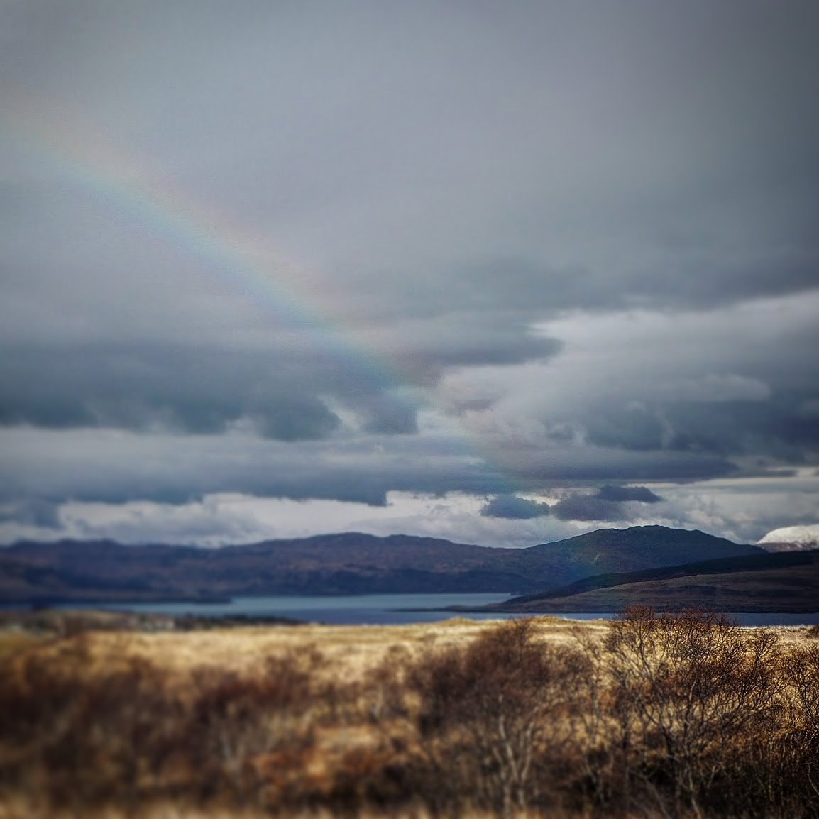 A rainbow view to the mainland over Mull