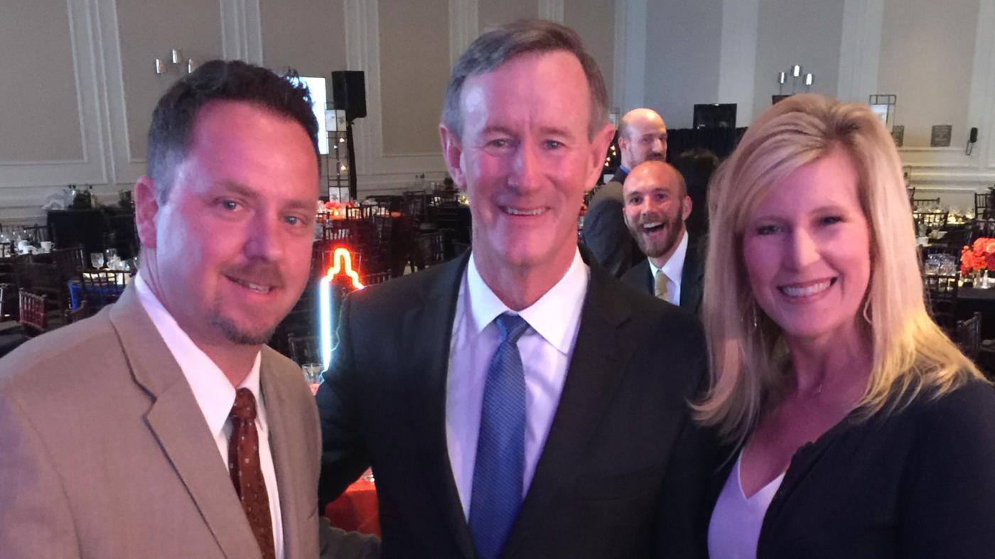 My wife, Lisa, and I with Admiral McRaven