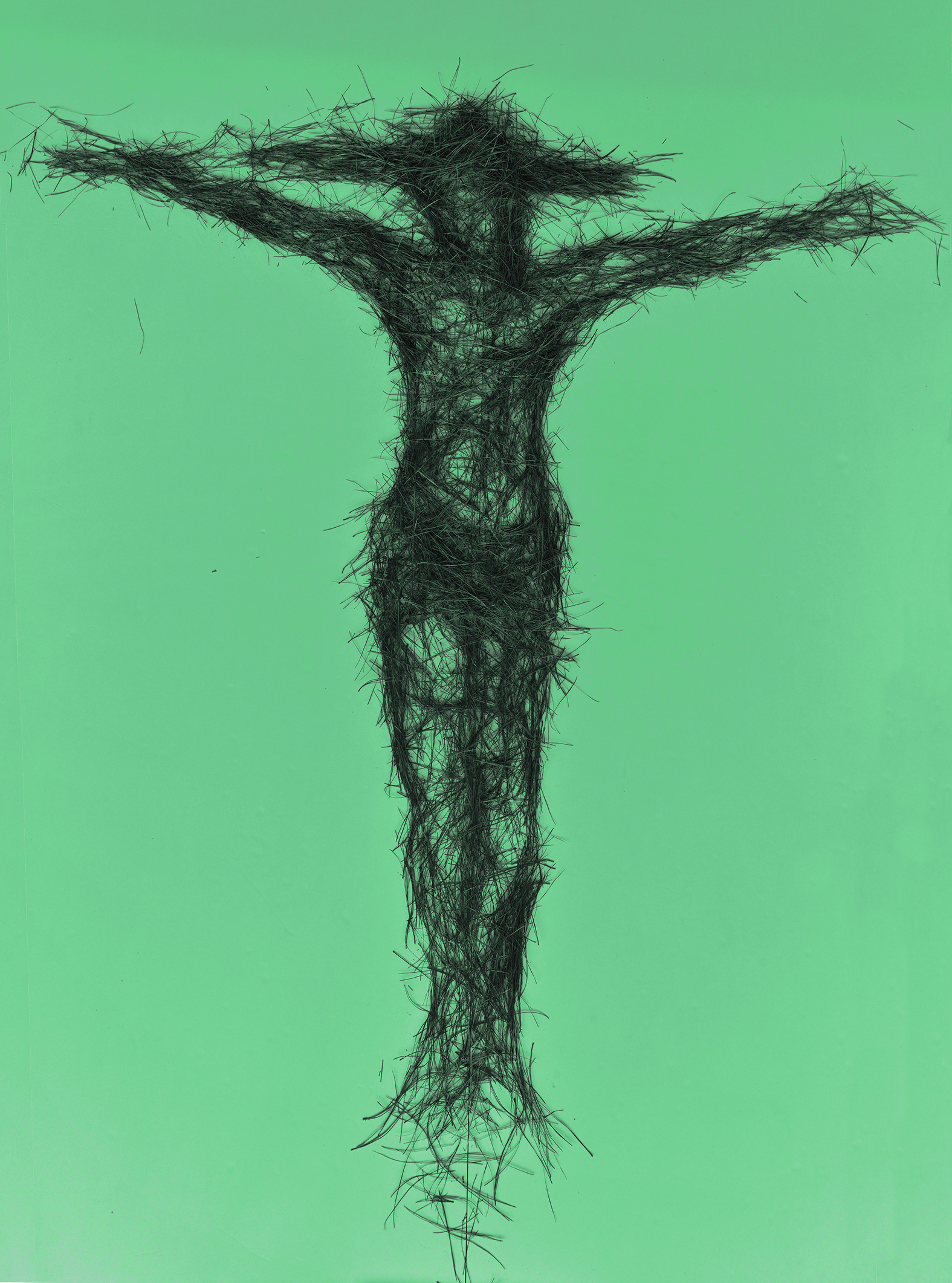 Cruxifixion of Jesus, pine needle drawing, 2016. Digital print
