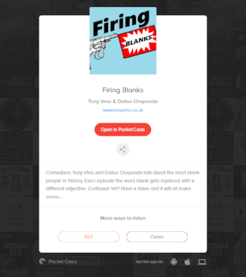 Firing Blanks Podcast available on iTunes Pocket Casts RSS -