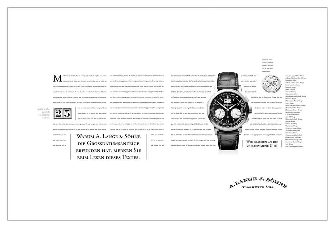 Why A. Lange & Söhne invented the great date display, you realize reading this copy.