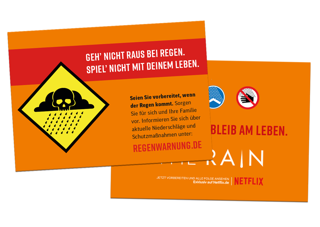 - A postcard mailing was sent to a large number of German households warning people of rain hazards.