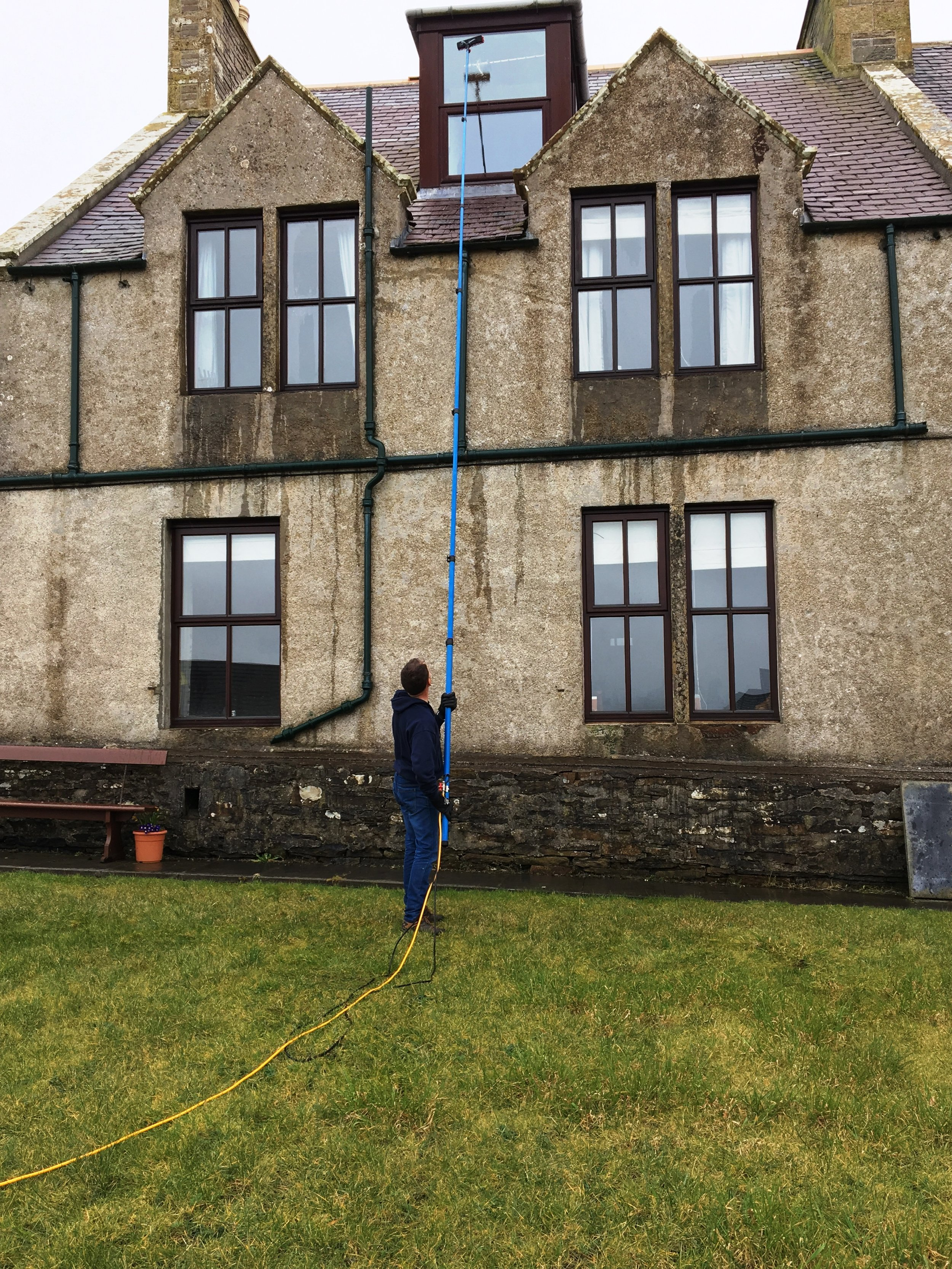With our window cleaning system, we have the capabilities to clean up to 38 feet with ease.