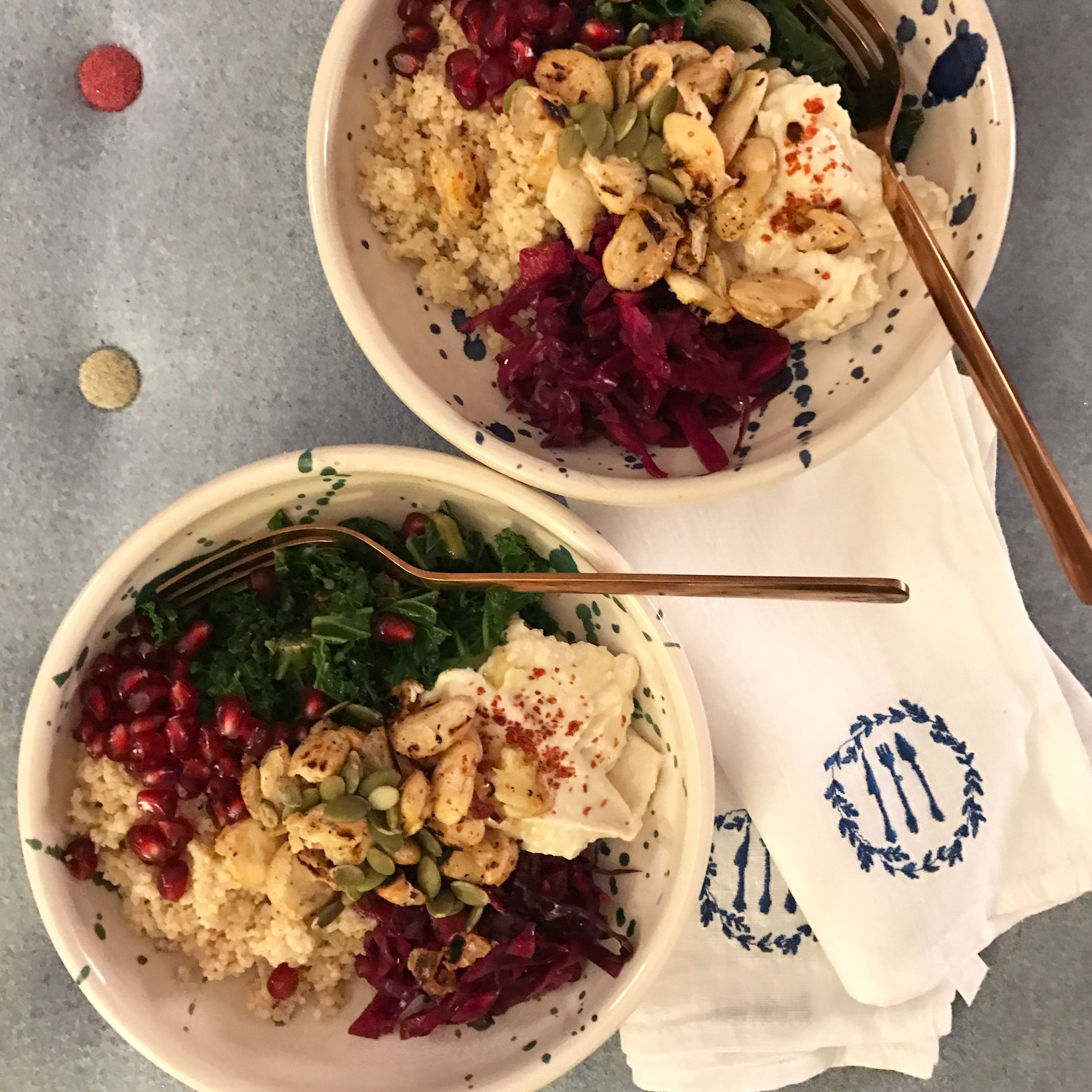 Veggie bowls with butter bean hummus and crispy fried butter beans