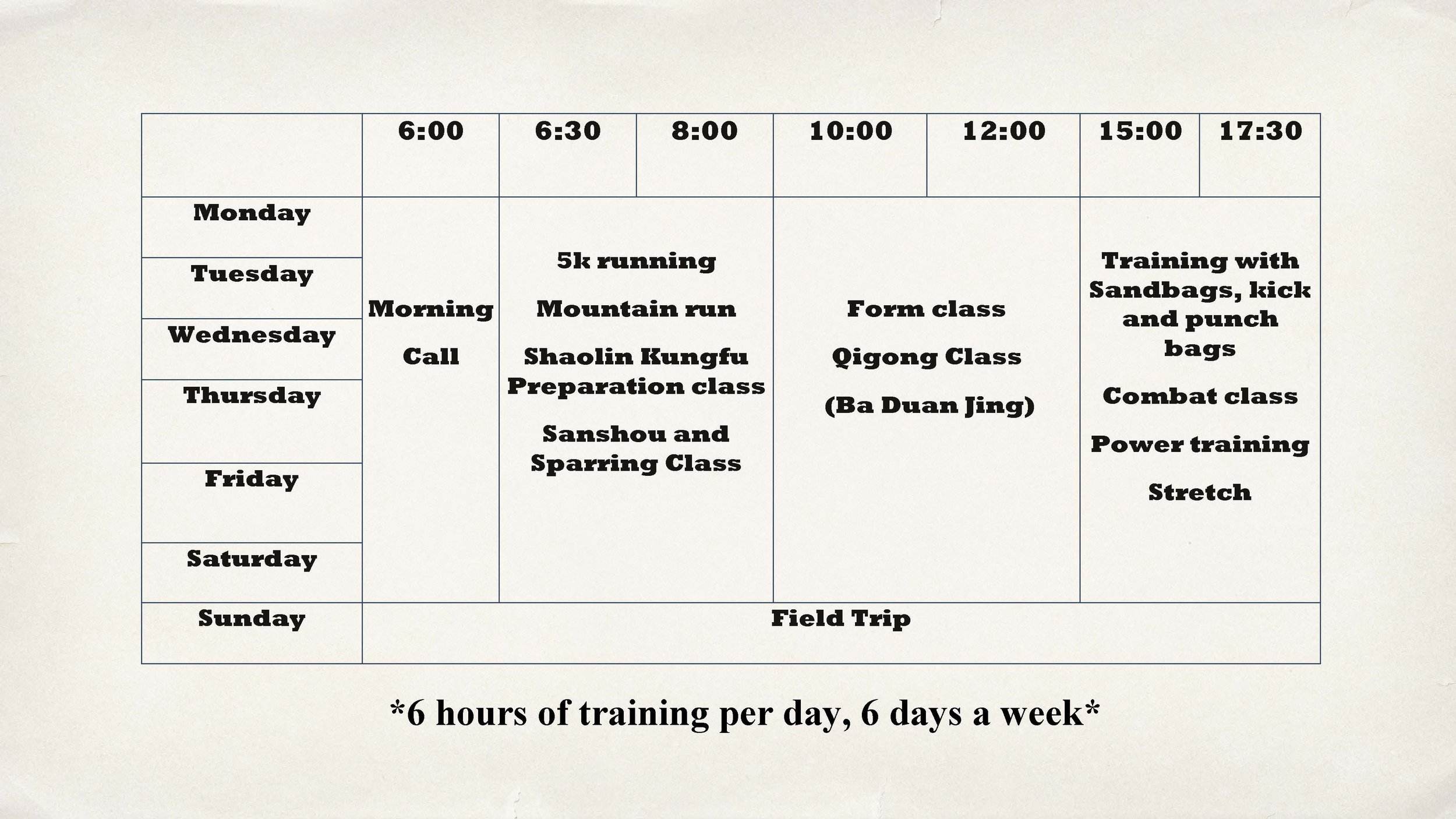 Shaolin Temple Kung Fu camp 2017 - Time table