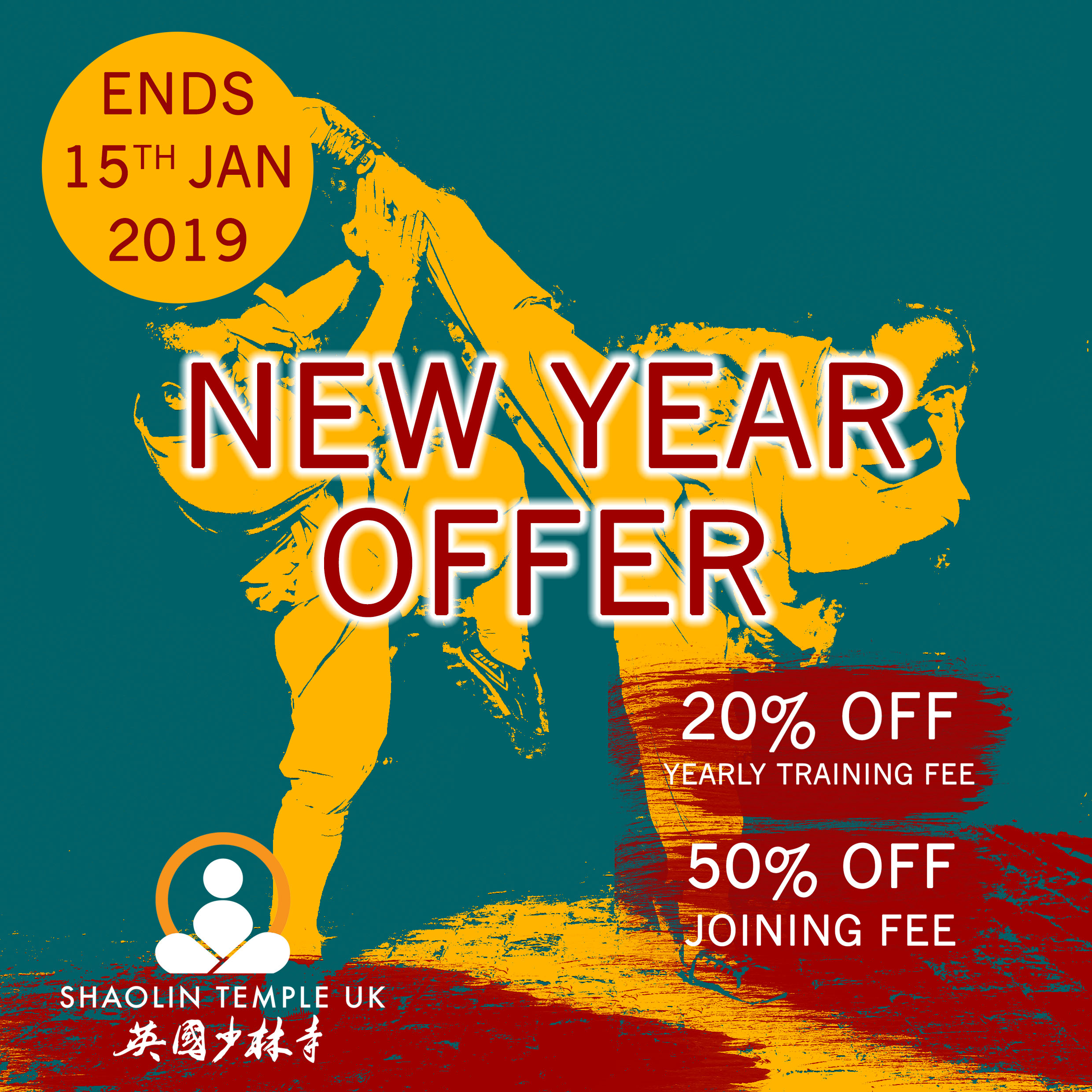 Until Jan.15 - The New Year offer is now available to new and existing members (adults).Joining fee is reduced by 50%, at £40 (save £40).Annual training fee is reduced by 20%, at £624 (save £156).