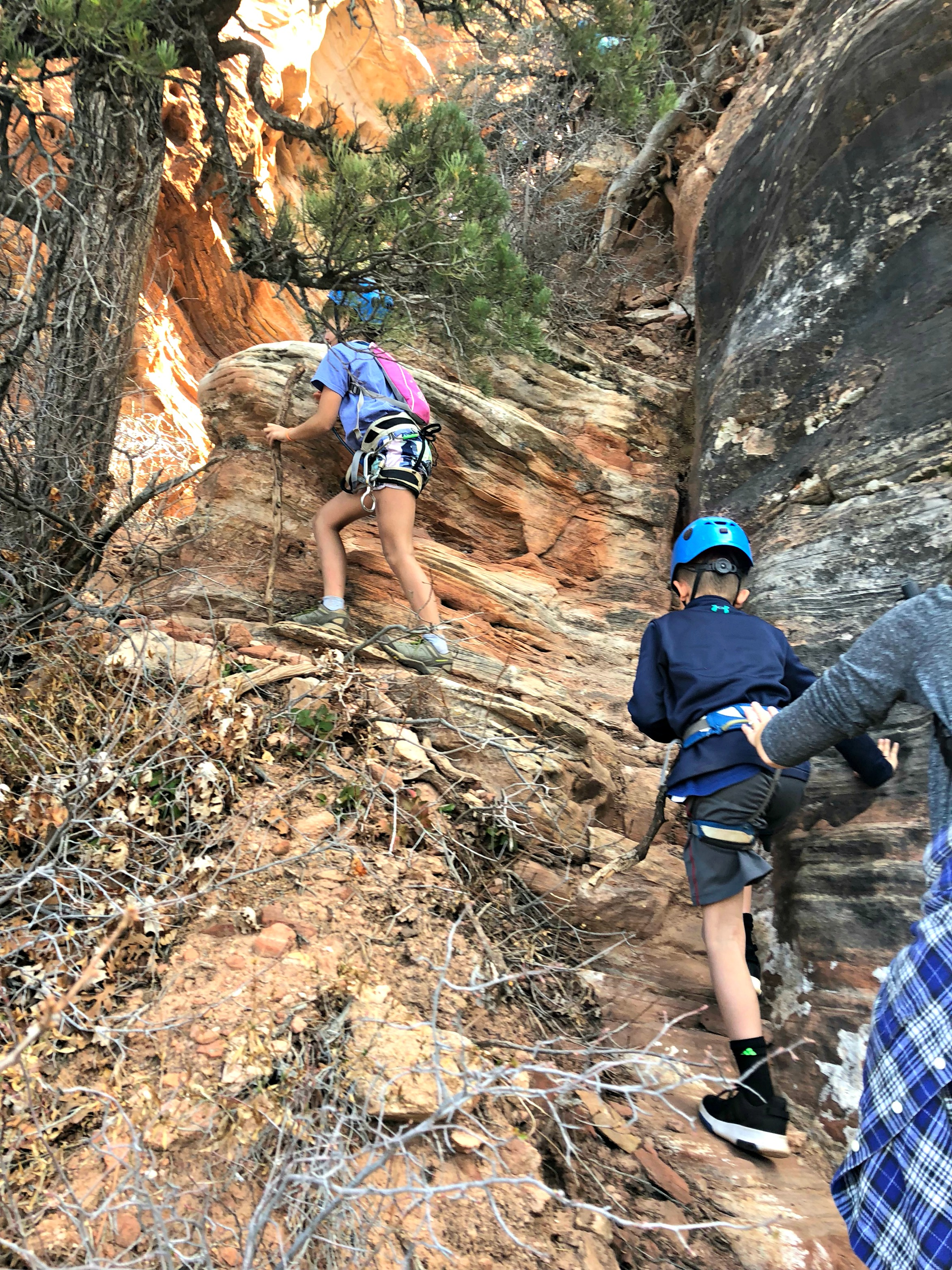 hiking-up-to-rappel-down-near-zion