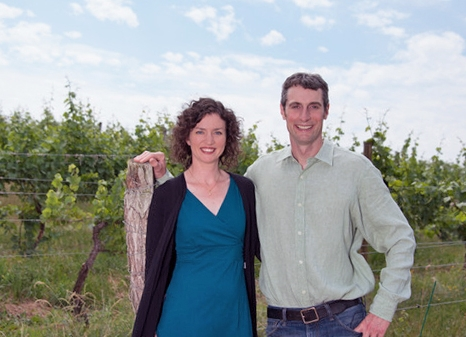 Shannon and Paul Brock in their vineyard in the Finger Lakes Region of NY.