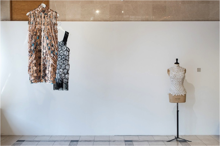 Jane Bowler, Woven Copper Dress, Plastic Crochet Dress