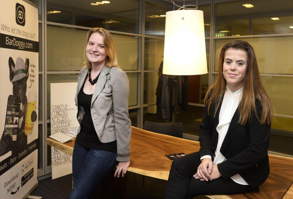 Melissa Oosterbroek en Valerie Vallenduuk bij Rabobank-Haarlemvalley incubator
