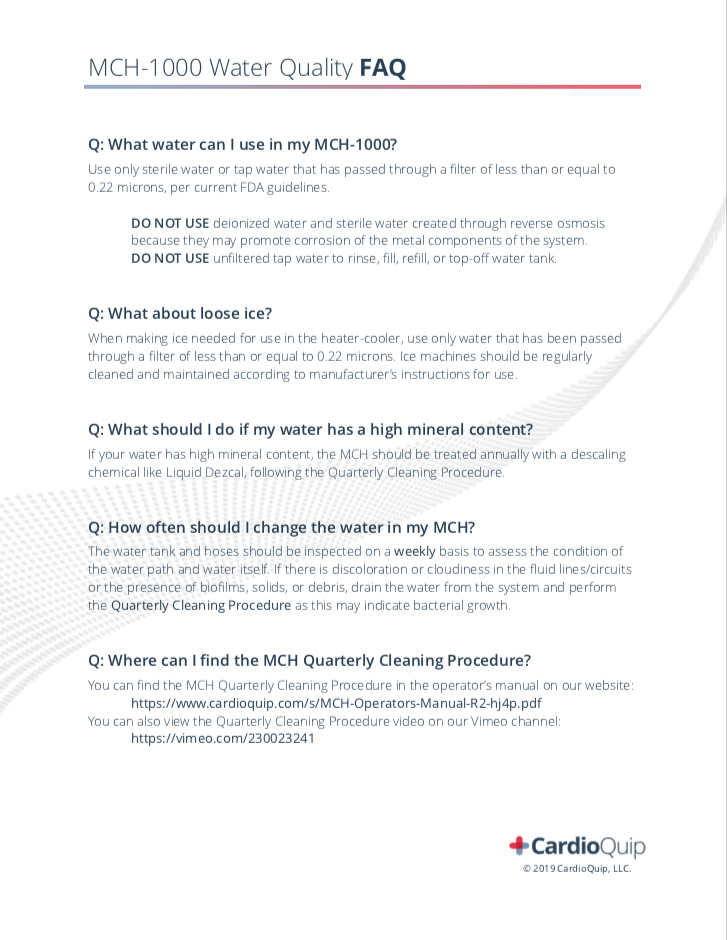 MCH Water Quality FAQ