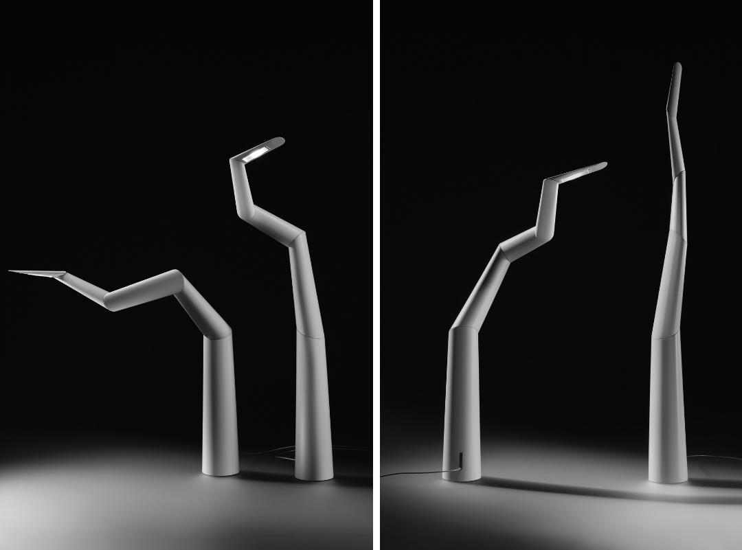 A luminária Spyre de Ingo Maurer é feita de cinco segmentos que podem ser girados e ajustados para direcionar a luz, na  FAS Iluminação