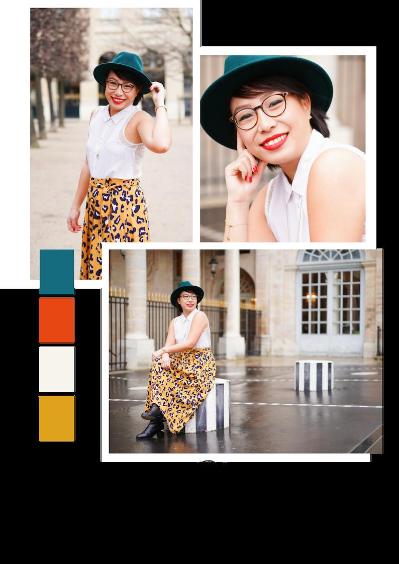 """Ses adresses shopping : - La jupe : """"Elle vient d'un atelier parisien Opullence, elle est vendue dans une petite boutique que j'adore, Tiana Paris dans le 6ème""""Le chemisier : """"Acheté chez Les Petites il y a quelques années.""""Le chapeau : """"Il vient d'une boutique à Londres, sinon, j'ai pour habitude d'acheter mes chapeaux chez American Vintage.""""Les bottines : """"Mellow Yellow of course ! """"Les lunettes : """"Paul & Joe.""""Le rouge à lèvres : """"J'en ai essayé plein avant de trouver le bon (longue tenue + zéro transfert ), j'ai trouvé mon bonheur avec le Kat Von D Everlasting Liquid Lipstick – Santa Sangre"""".La montre : """"Nixon - Medium Time Teller Light"""""""