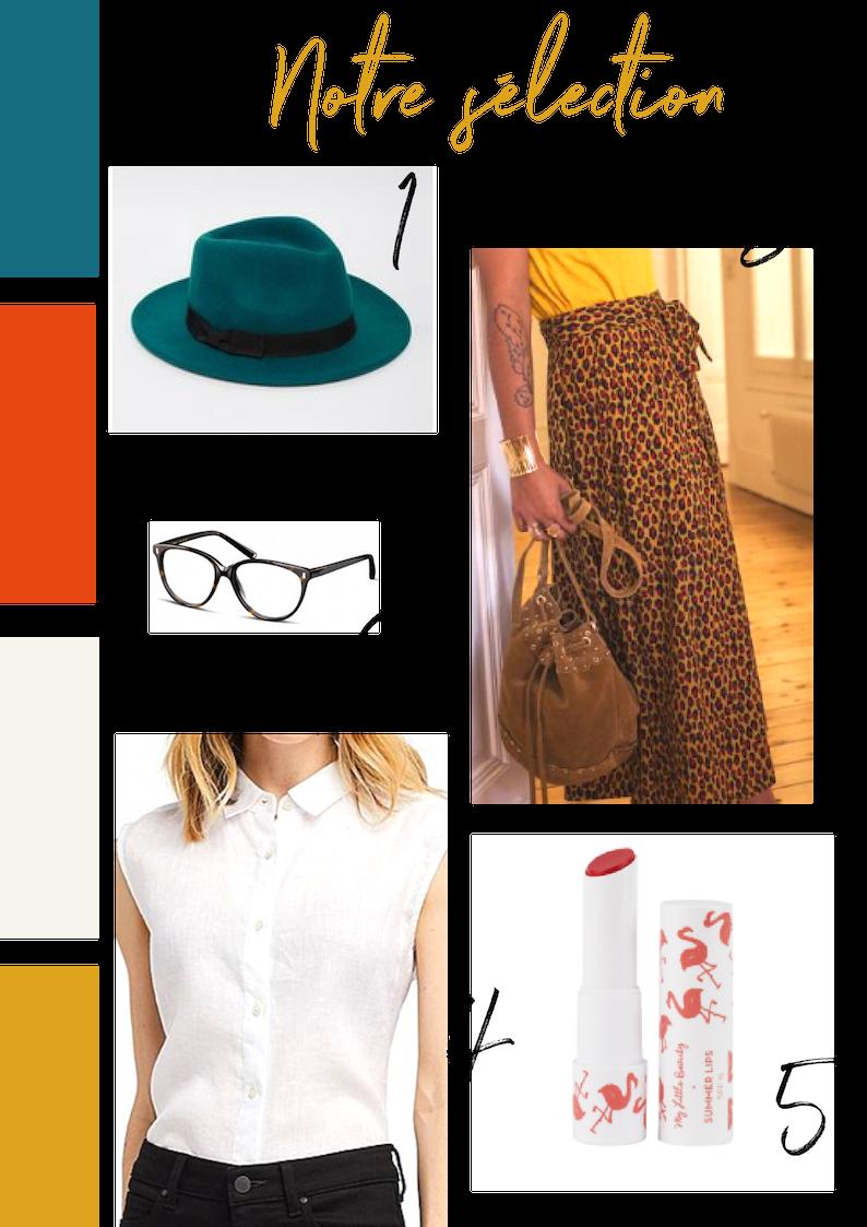 Quelques adresses inspirées du look de Jennifer ! - 1. Le chapeau : Warehouse (chez Asos).2. La petite jupe : Stella & Suzie3. Le chemisier : Uniqlo 4. Le rouge à lèvres : My Little Beauty.5. Les lunettes : Jimmy Fairly.