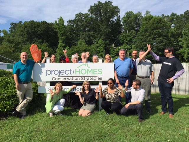 The staff of Project:HOMES takes a break for High Five RVA