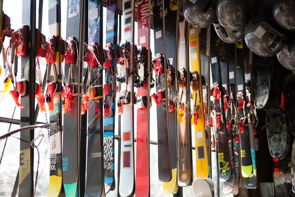 Some of our Telemark demos. What is Telemarking? It is a style of skiing where the biding allows your heels to come off the ski.