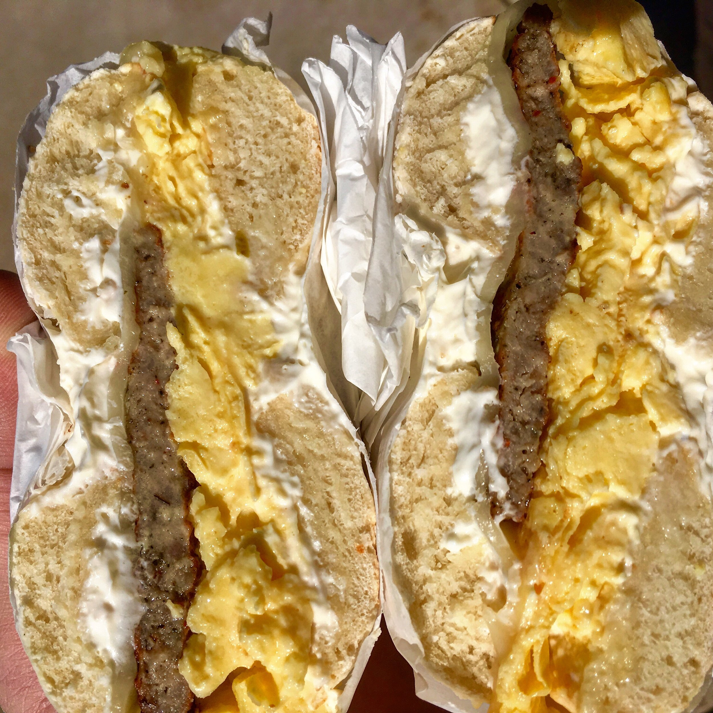 Salt bagel with sausage, egg and cheese from Wasatch Bagels.