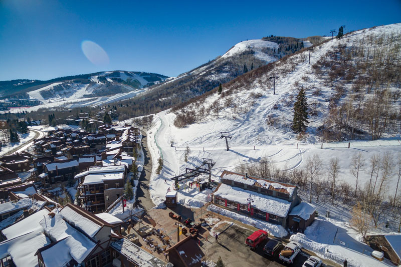 Aerial view of the plaza, ski lift and Silver Star Ski & Sport.