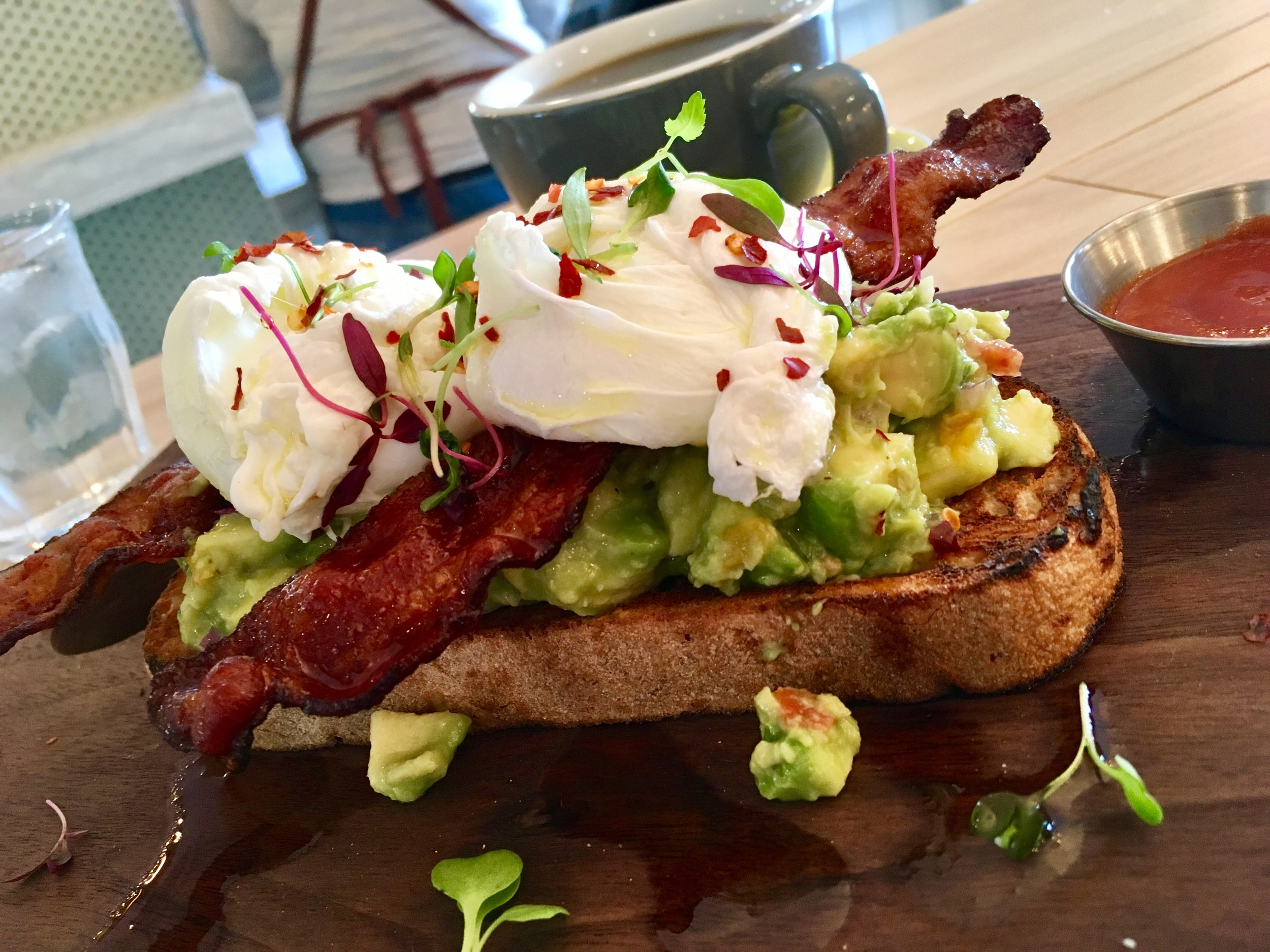 The avacodo toast with bacon added from Harvest.