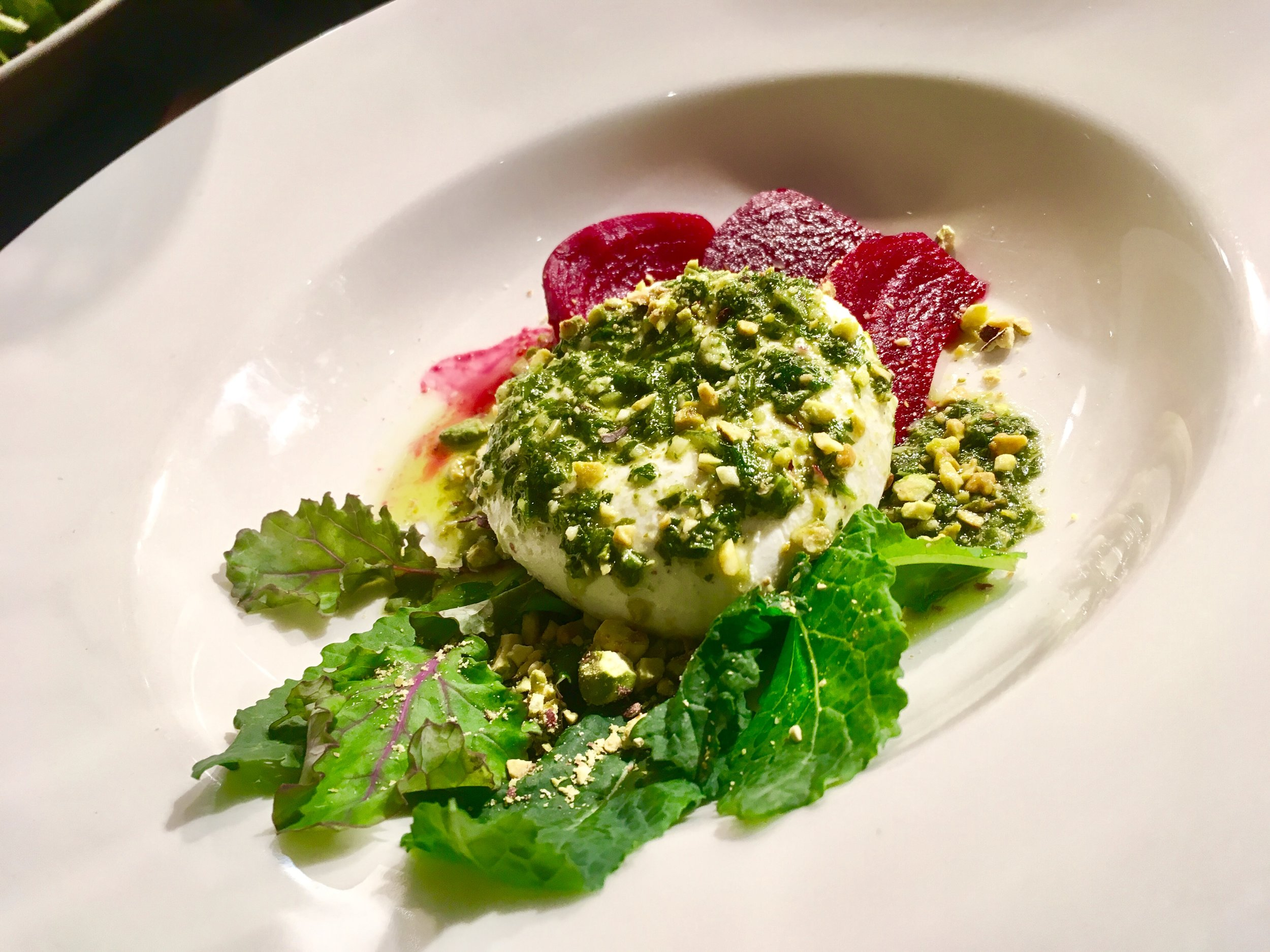 The beet and burrata appetizer from Firewood.