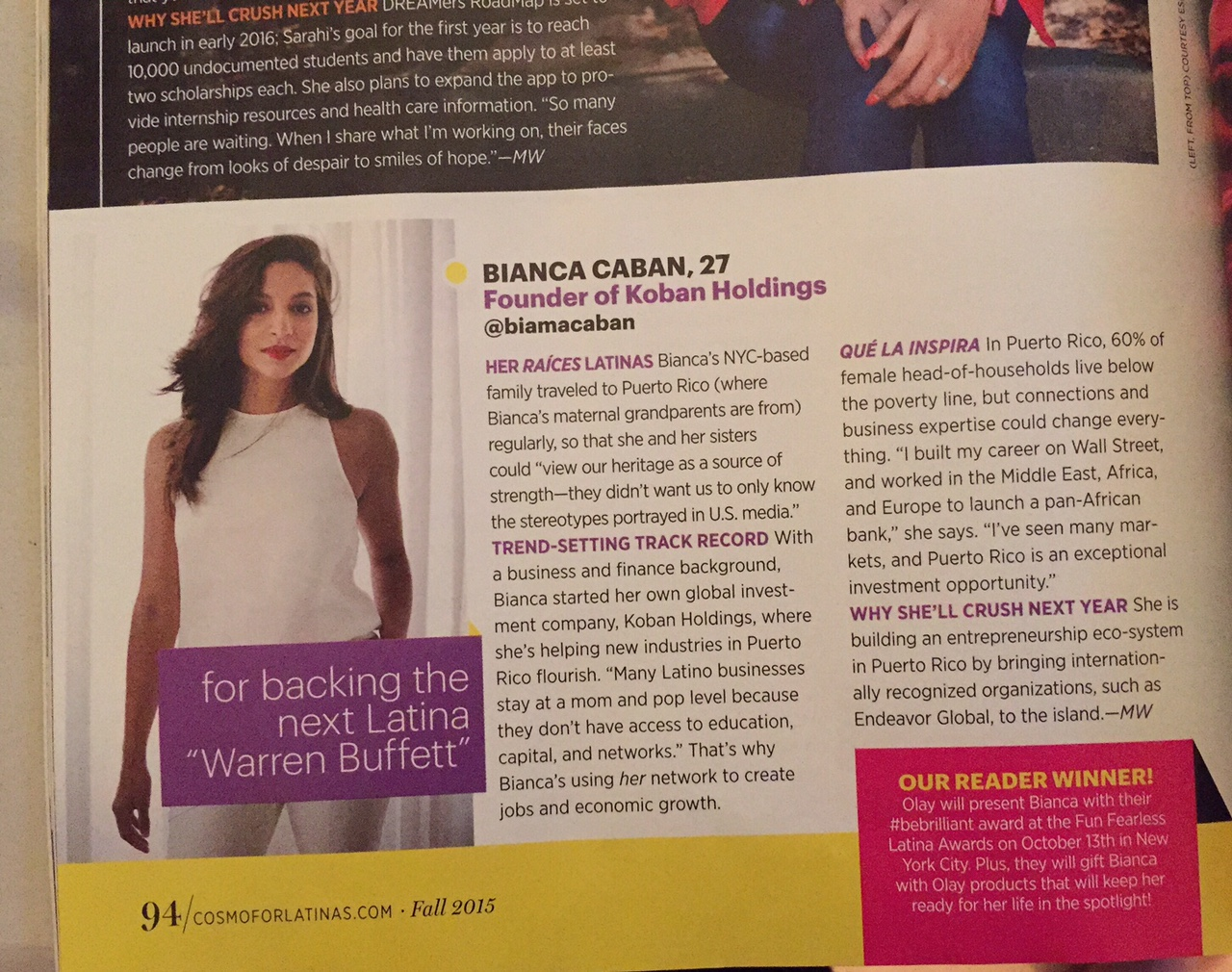 "Bianca dubbed ""The next Latina 'Warren Buffet'"" in the September 2015 edition of Cosmopolitan for Latinas Magazine."