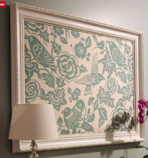 A custom made bulletin board or pin board (as she calls it) using your choice of fabric that is put in a frame you also hand pick