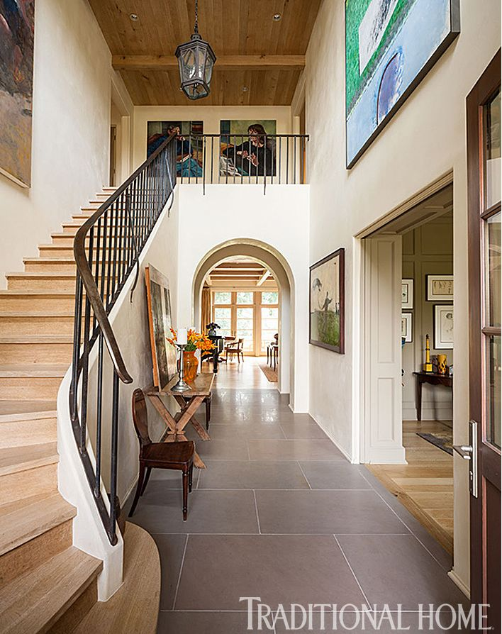 """Seattle architect Stuart Silk """"could live in a flat-roof modern quite comfortably,"""" but"""" his wife Mary is a """"dyed-in-the-wool traditionalist,"""" so he combined their two styles in a beautiful way that has some surprising twists, such as in their bathroom."""