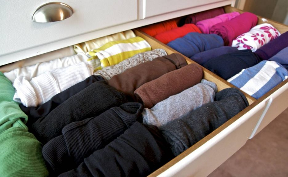 This shows the fold up and shirts that are rolled in a drawer.  via  bradylou