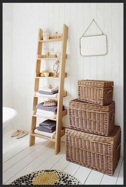 Baskets are always a  great way to create space and they add warmth to a room.  via  allcomforthvac