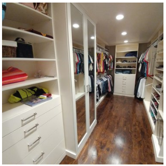 Shelves, drawers, cabinets with mirrored doors, drawers - we can do any closet design you want!