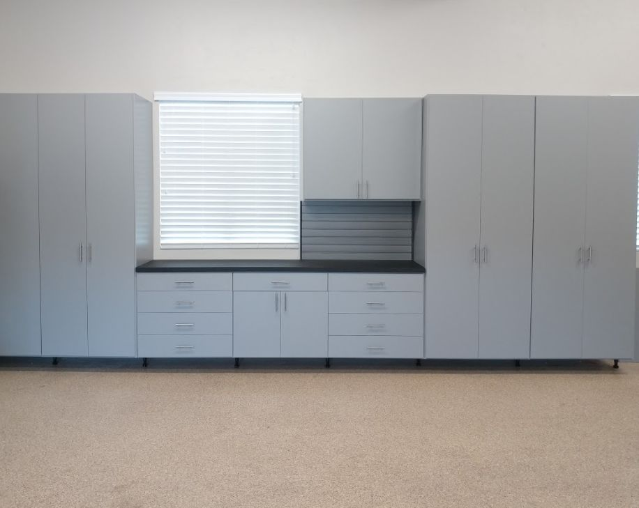 A bank of cabinets to streamline your garage and make you happy to enter!!
