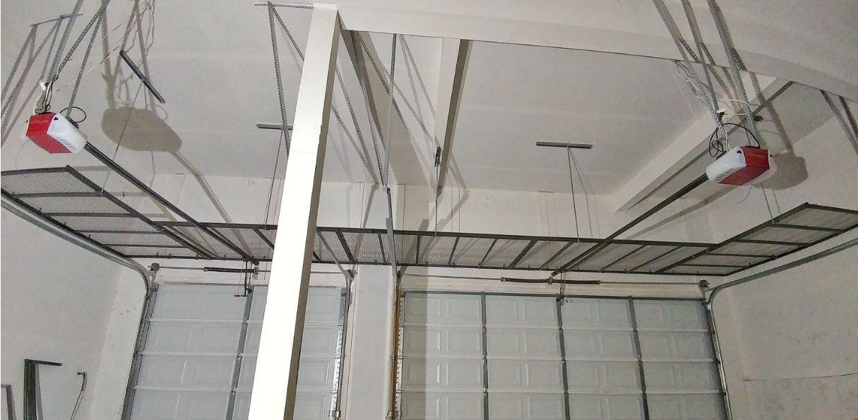 Industrial steel frame with steel mesh top -