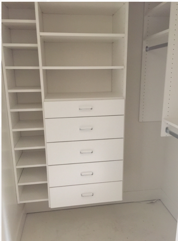 Standard size closets benefit from professional 3D design.  With custom features you can have any number of shelves you want that are designed to fit your personal needs.  It changes how you are able to store and have access to the things you use each day!