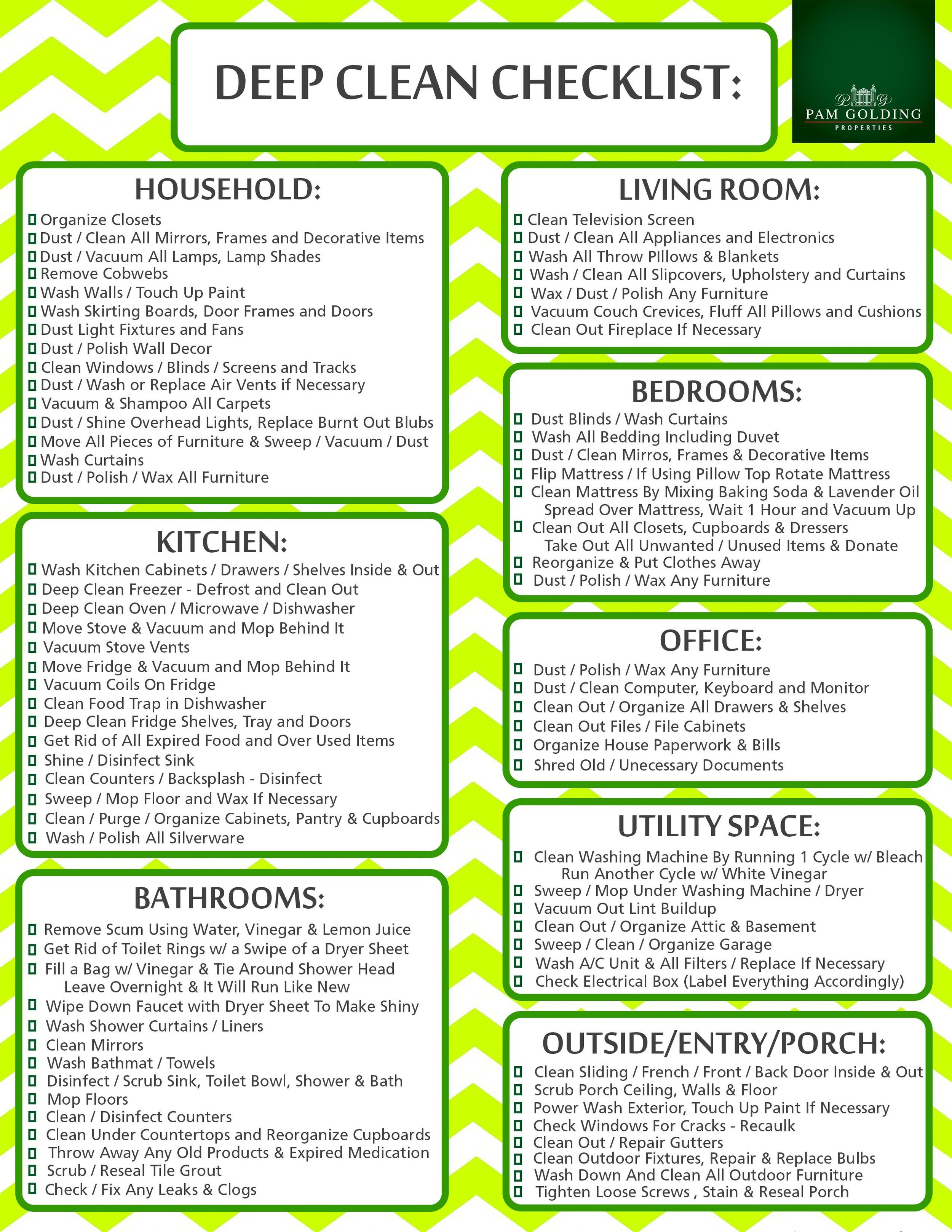 Free Printable Deep Cleaning Checklist — Create Home Storage
