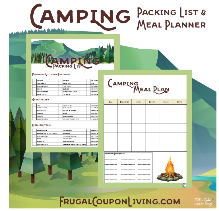 These free printable are from Frugal Coupon Living.  To see the post with the free printables and great camping recipes go  here . To go directly to the pdf go  here .