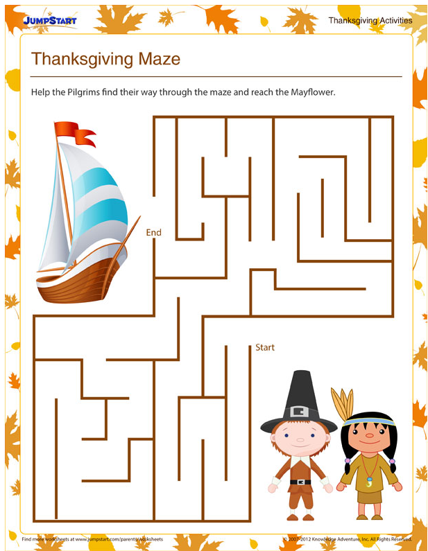 Another wonderful maze for little ones. It is from JumpStart and you can find it  here . Click on the print button below the maze to get the full size version.