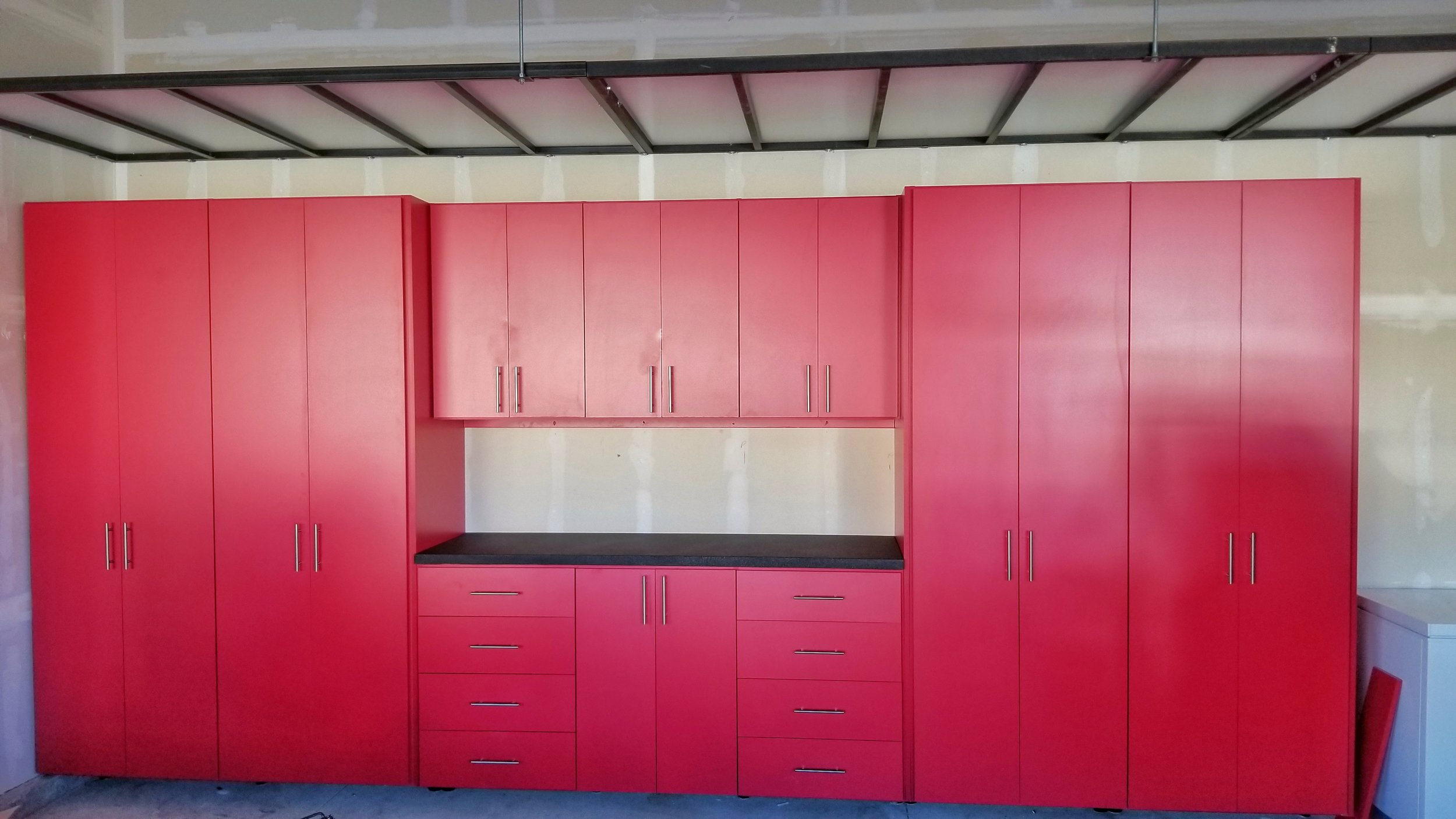 red garage cabinet W overhead