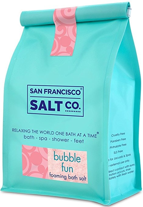 1. EXPERIENCE THE ULTIMATE IN RELAXATION WITH THIS FOAMING BATH SALTSan Francisco Salt Co. Bubble Fun Foaming Bath Salts, $12, Amazon  Whether you're taking a shower, bath, or giving yourself a pedicure, this foaming bath salt is a great addition. The salts in this bag are infused with a sweet and effervescent bubblegum fragrance and made with ultra-luxurious Pacific sea salts, which take five years to mature and are gathered through the natural process of steadily evaporating sea water to collect its salt. Totally paraben- and phthalate-free, these salts have a soothing, detoxifying effect on skin because they help open up pores and flush out harmful toxins lingering in the skin. Best of all, they can also help promote relaxation and include trace minerals, which when absorbed can have a rejuvenating effect on the body. -