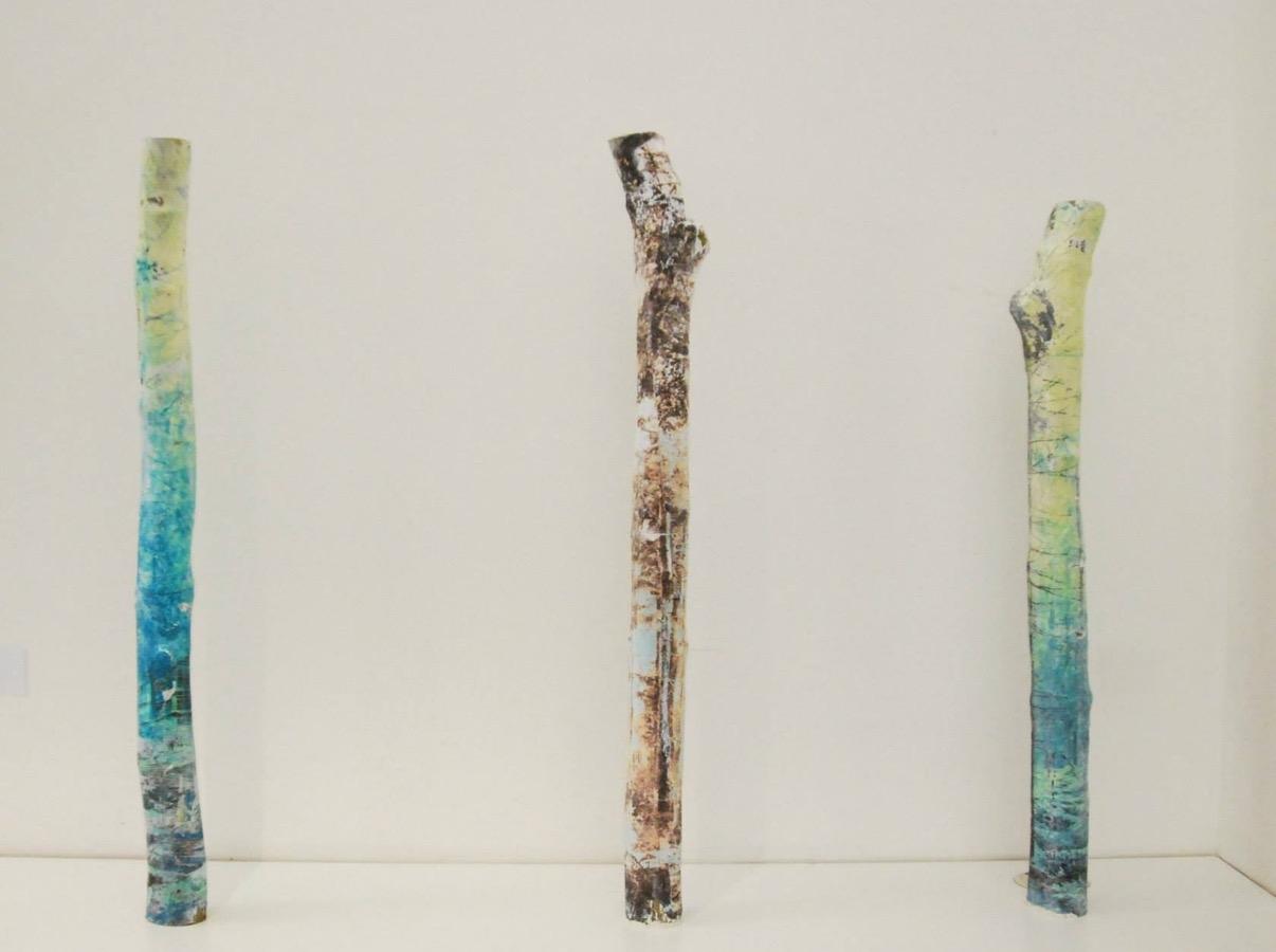 'Rebuilding 1, 2 & 3'  Concrete, Bamboo, Print and Acrylic  8cm x 8cm x 85cm  2015  £900 each