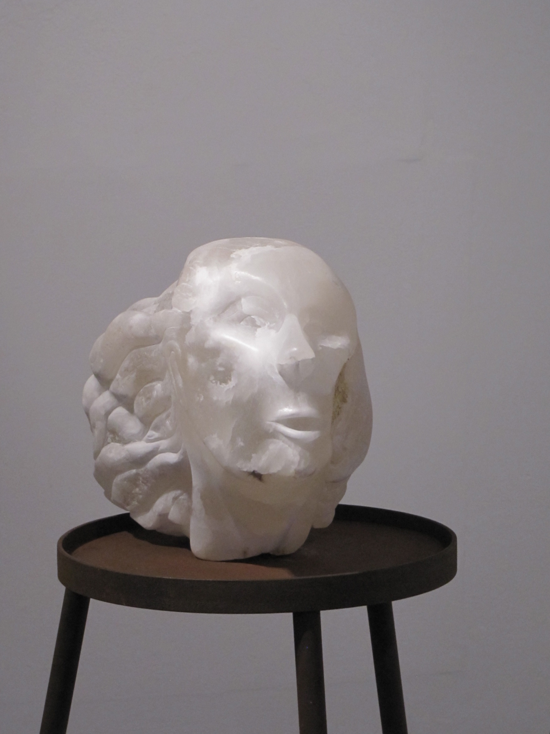 'Gasp'  2014  White Alabaster and Gold Leaf  25cm x 25cm x 38cm  Stand: steel, nylon and wood - 150xm x 60xm x 60cm  £2000*