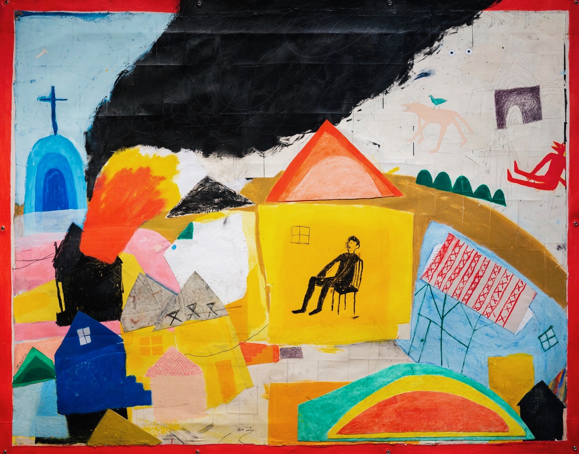 Building Houses   Acrylic & Collage on Canvas  84x66in  2018