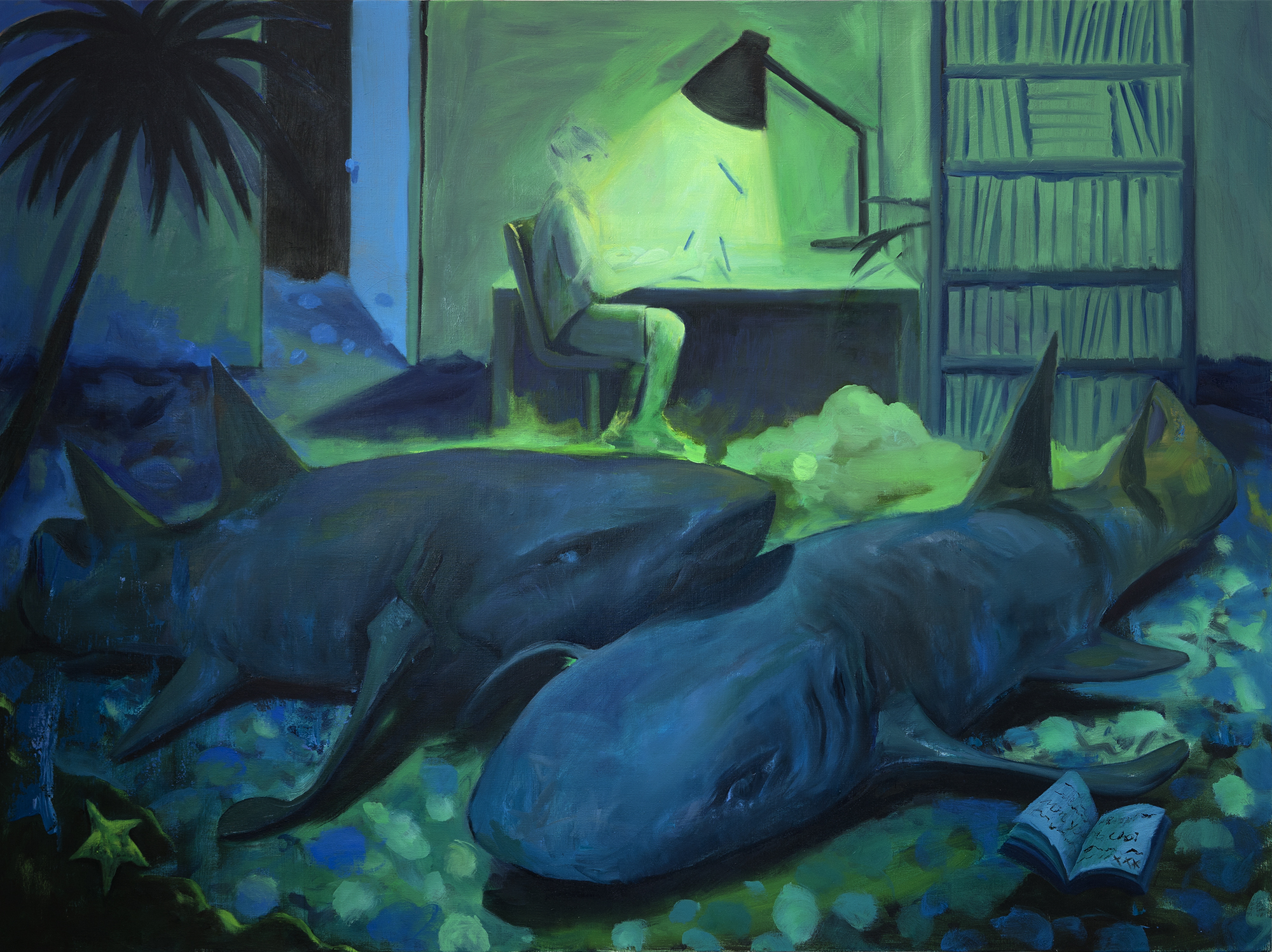 Sleeping Sharks  Oil on linen  120 x 160 cm  2018