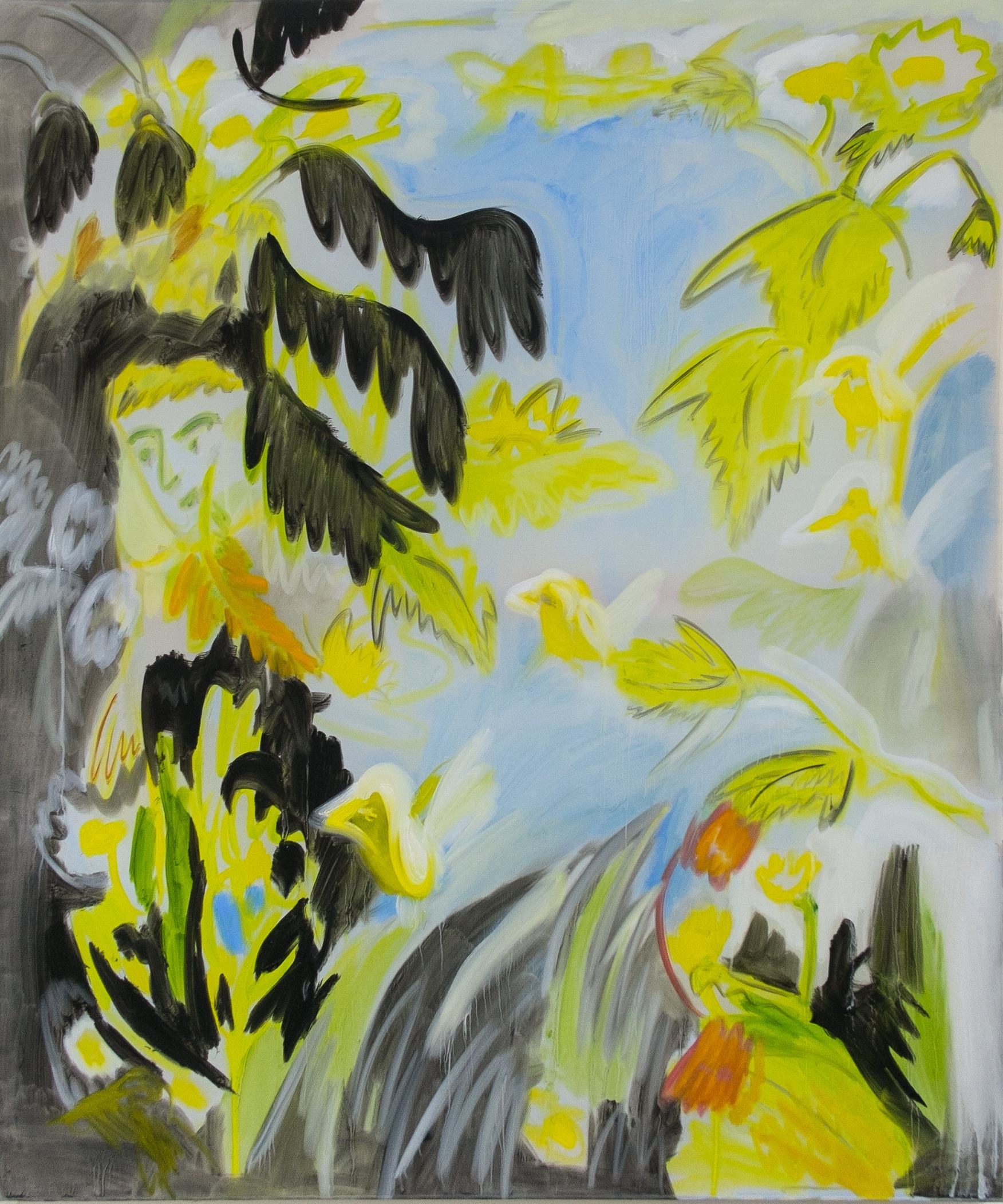 4 Birds, Hiding In The Bushes  106 x 90 cm   Oil on Transparent Fabric