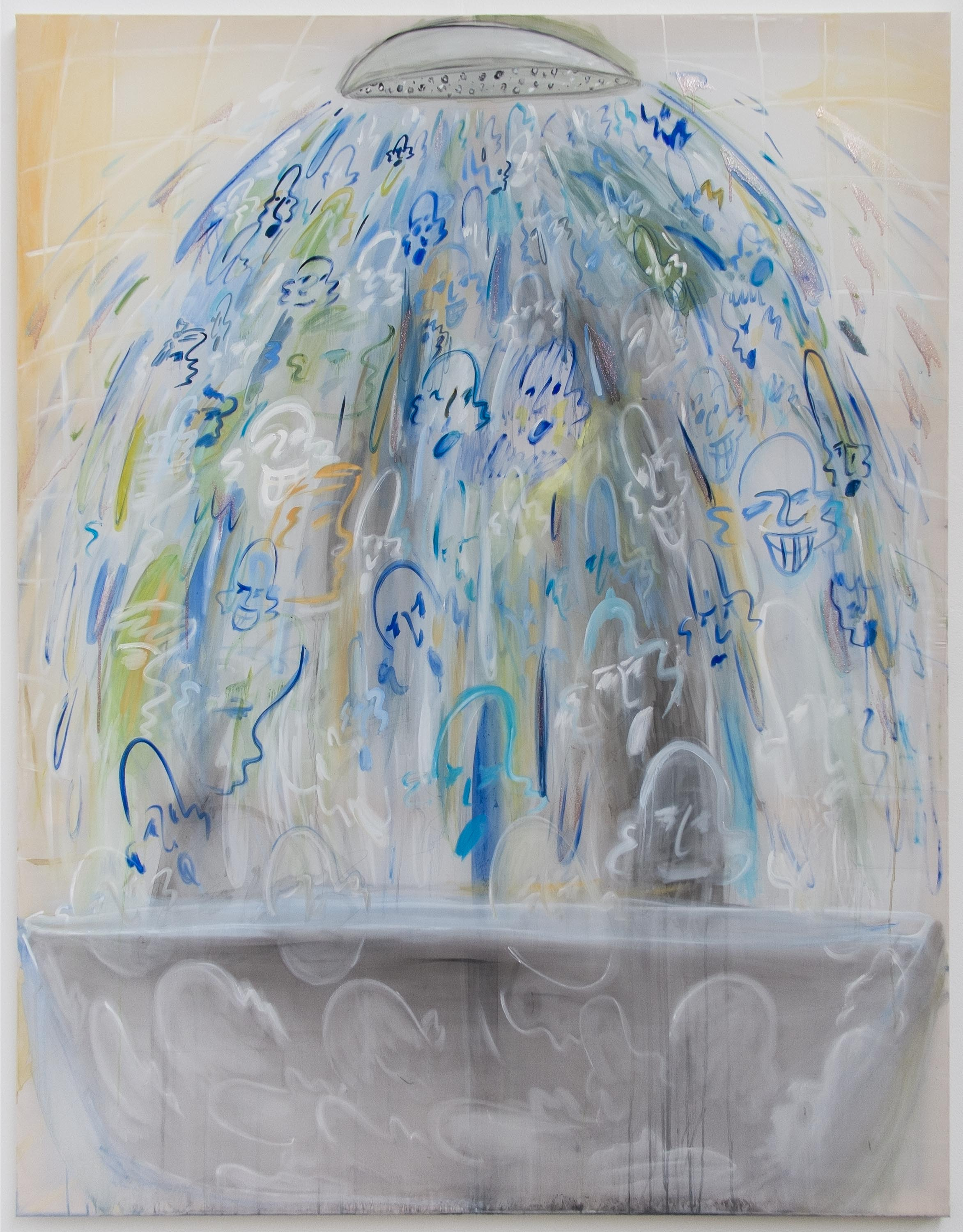 Fear Of Orange Water  180 x 140 cm  Oil, Silicone, Glitter on Transparent Fabric