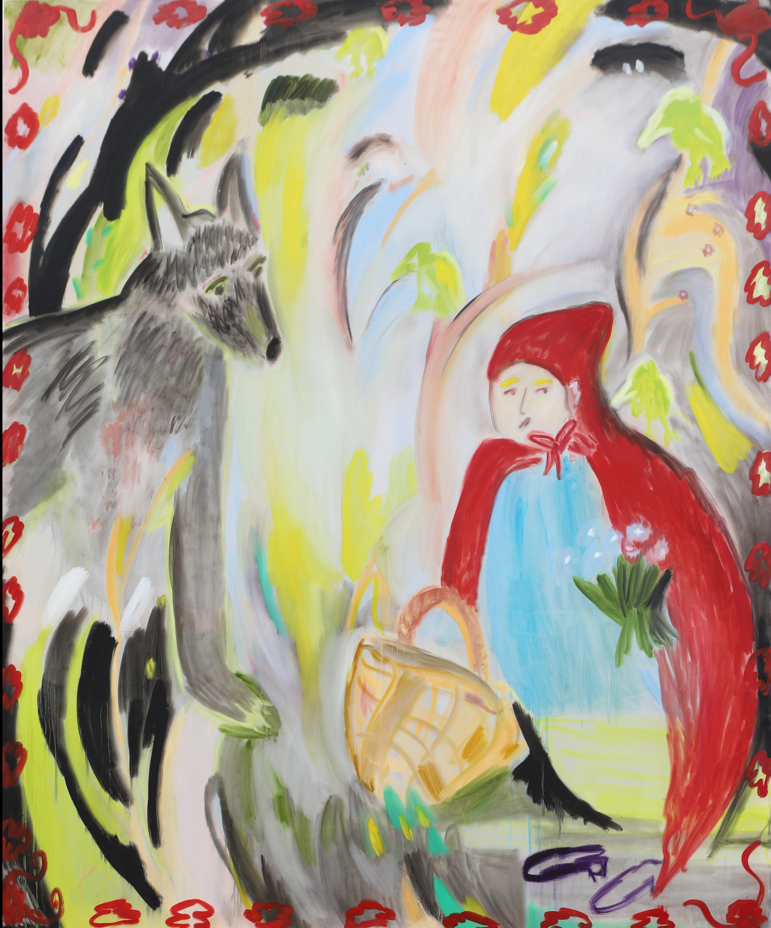 Riding Hood  170 x 140 cm  Oil, Silicone on Transparent Fabric