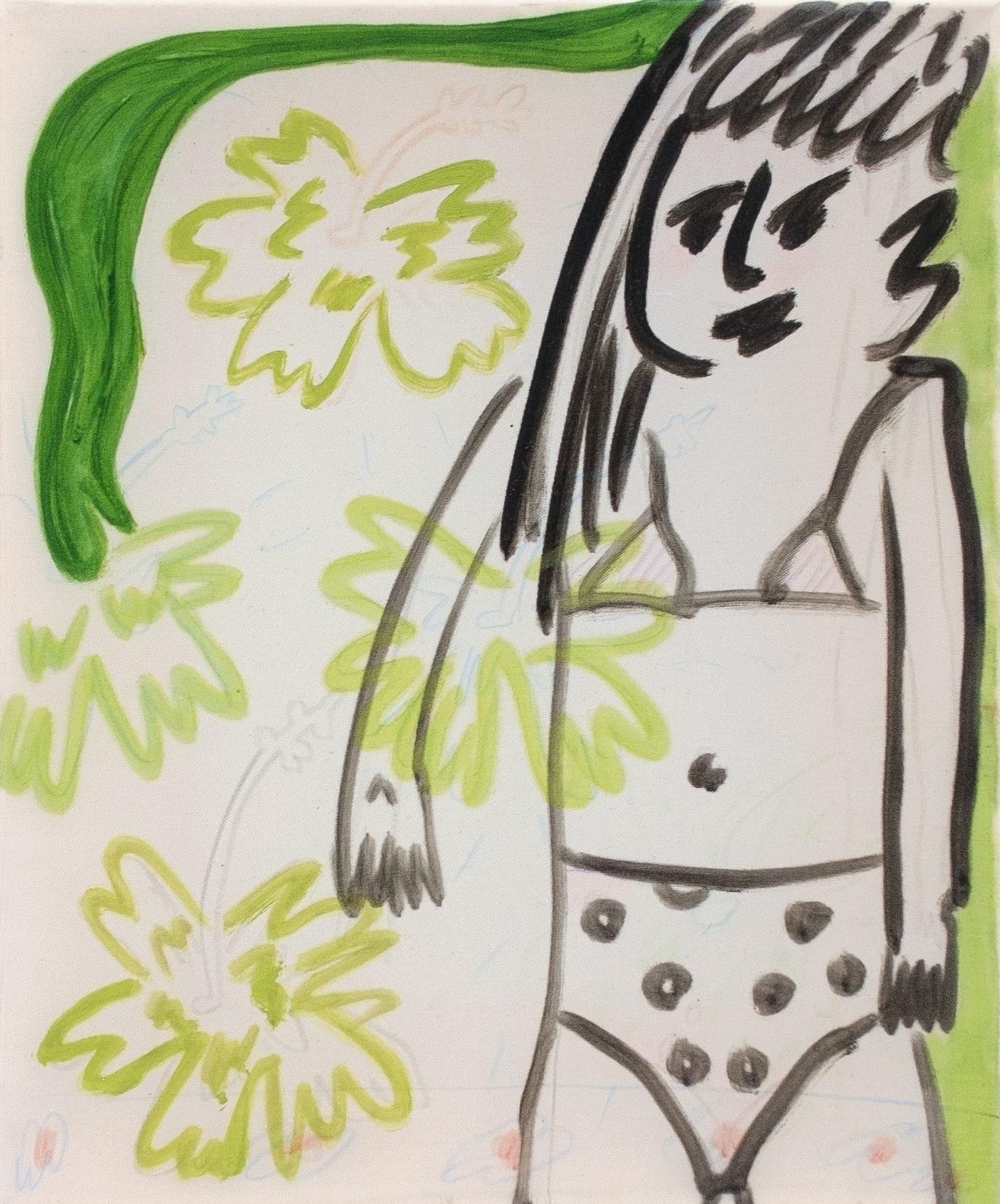 Green Girl  28 x 20 cm  Oil on Transparent Fabric