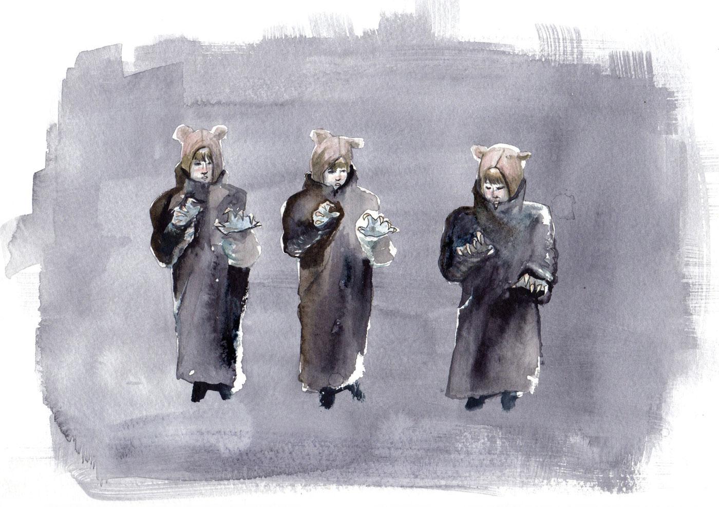 cora-marcora-marinoff-personal-work-painting-three-bears-siblings-series-1