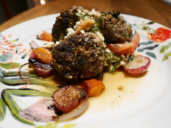 Spinach Feta Meatballs with Roasted Root Veggies and Tomato Feta Sala